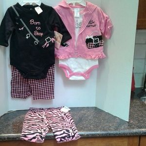 Five pieces of Baby Girl Outfits Mix and Match NWT